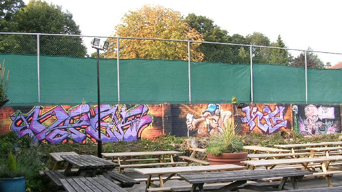 Beer Garden overview, Monday, the finished artworks