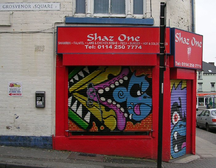 Artwork at Shaz  One, London Road
